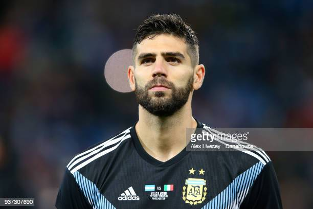 Federico Fazio of Argentina looks on prior to the International friendly match between Argentina and Italy at Etihad Stadium on March 23 2018 in...