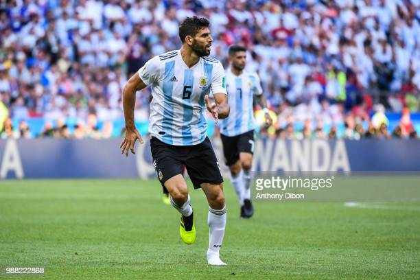 Federico Fazio of Argentina lost a shoe during the FIFA World Cup Round of 16 match between France and Argentina at Kazan Arena on June 30 2018 in...