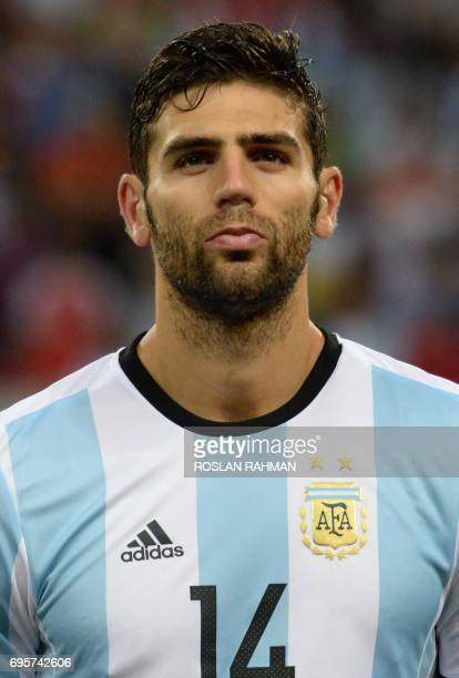 Federico Fazio of Argentina poses before the start of their international friendly football match against Singapore at the National Stadium in...