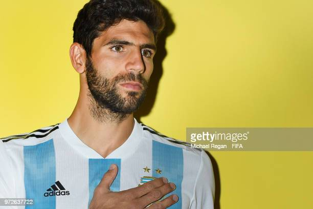Federico Fazio of Argentina poses during the official FIFA World Cup 2018 portrait session at on June 12 2018 in Moscow Russia