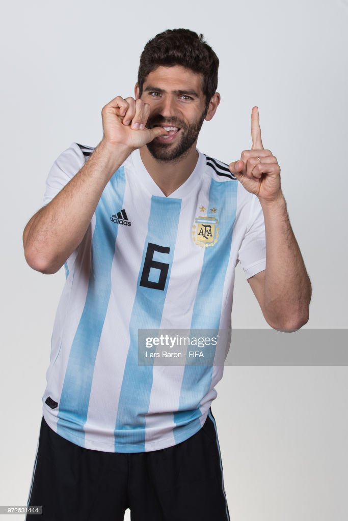 Federico Fazio of Argentina poses for a portrait during the official FIFA World Cup 2018 portrait session on June 12, 2018 in Moscow, Russia.