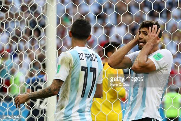 Federico Fazio of Argentina reacts during the 2018 FIFA World Cup Russia Round of 16 match between France and Argentina at Kazan Arena on June 30...