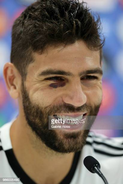 Federico Fazio of Argentina smiles during a press conference at Stadium of Syroyezhkin sports school on June 27 2018 in Bronnitsy Russia