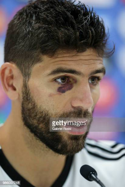Federico Fazio of Argentina speaks during a press conference at Stadium of Syroyezhkin sports school on June 27 2018 in Bronnitsy Russia