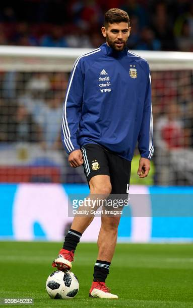 Federico Fazio of Argentina warms up during the international friendly match between Spain and Argentina at Wanda Metropolitano stadium on March 27...