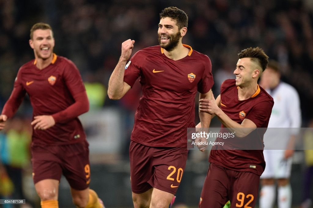 Federico Fazio (20) of AS Roma celebrates after scoring a goal during Italian Serie A soccer match between AS Roma and ACF Fiorentina at Stadio Olimpico in Rome, Italy on February 07, 2017.