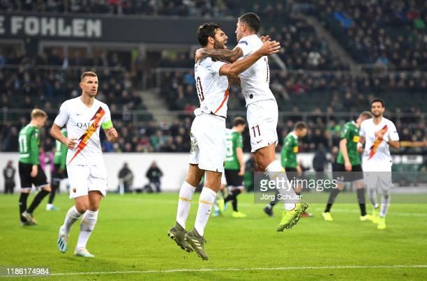 Federico Fazio of AS Roma celebrates after scoring his team's first goal with Aleksandar Kolarov during the UEFA Europa League group J match between...