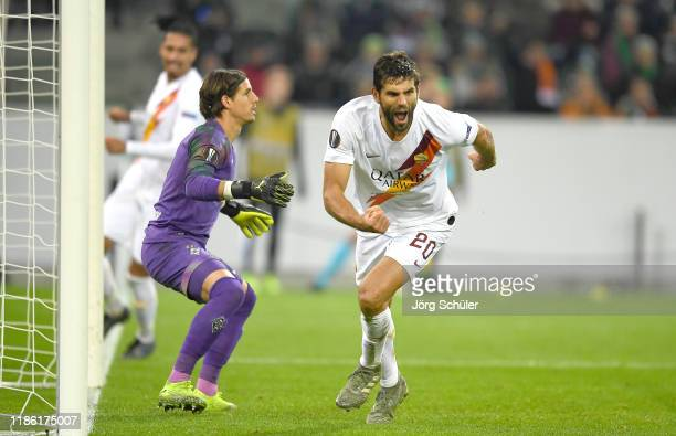 Federico Fazio of AS Roma celebrates after scoring his team's first goal during the UEFA Europa League group J match between Borussia...