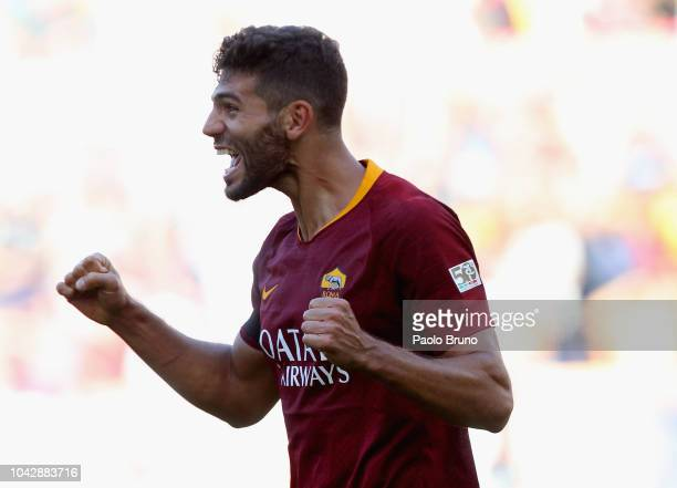Federico Fazio of AS Roma celebrates after scoring the team's third goal during the Serie A match between AS Roma and SS Lazio at Stadio Olimpico on...