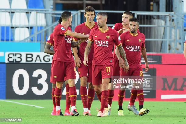 20# Federico Fazio of AS Roma celebrates his first goal during the Serie A match between Brescia Calcio and AS Roma at Stadio Mario Rigamonti on July...