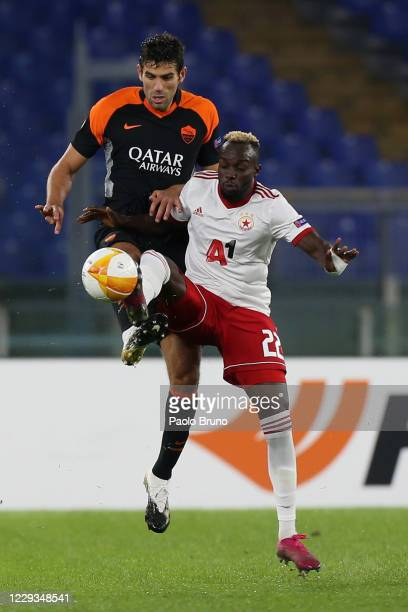 Federico Fazio of AS Roma competes for the ball with Ali Sowe of CSKA-Sofia during the UEFA Europa League Group A stage match between AS Roma and...