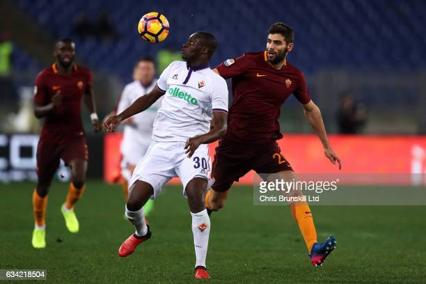 Federico Fazio of AS Roma in action with Khouma Babacar of ACF Fiorentina during the Serie A match between AS Roma and ACF Fiorentina at Stadio...