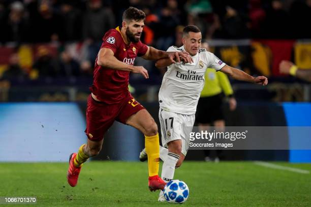 Federico Fazio of AS Roma, Lucas Vazquez of Real Madrid during the UEFA Champions League match between AS Roma v Real Madrid at the Stadio Olimpico...