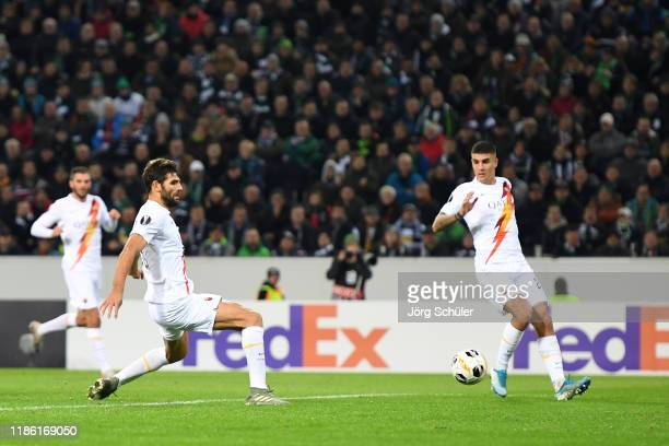 Federico Fazio of AS Roma scores an own goal during the UEFA Europa League group J match between Borussia Moenchengladbach and AS Roma at...