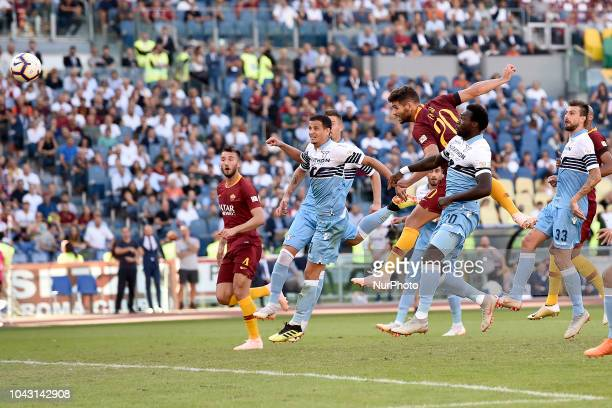 Federico Fazio of AS Roma scores third goal during the Serie A match between Roma and Lazio at Stadio Olimpico Rome Italy on 29 September 2018