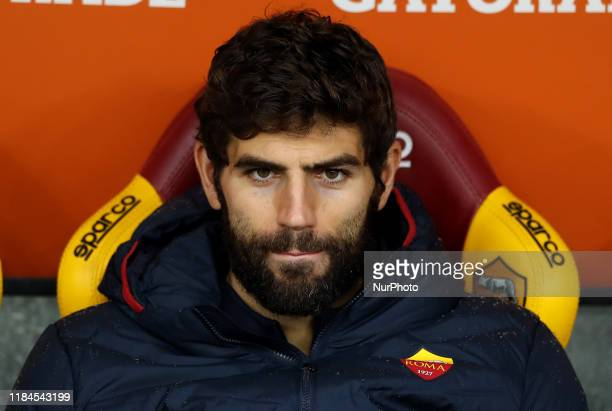 Federico Fazio of Roma on the bench during the Serie A match AS Roma v Brescia Fc at the Olimpico Stadium in Rome Italy on November 24 2019