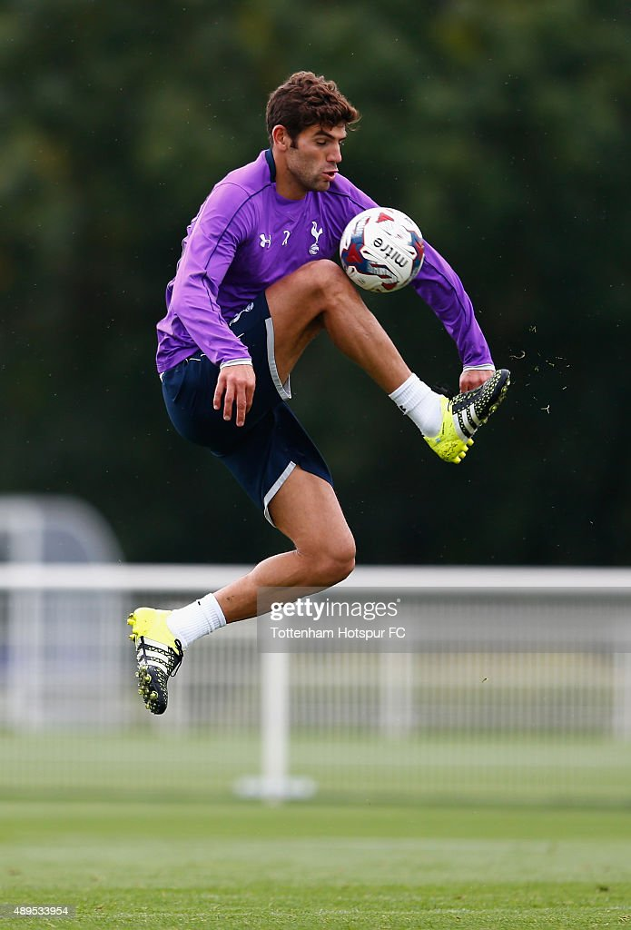 Federico Fazio of Tottenham Hotspur controls the ball during Tottenham Hotspur Training Session at Hotspur Way on September 22, 2015 in Enfield, England.