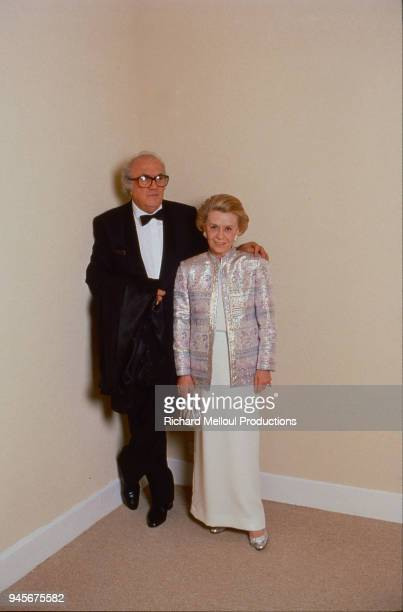 Federico Fellini and his wife Giulietta Masina attend the Cannes Film Festival 19th May 1987