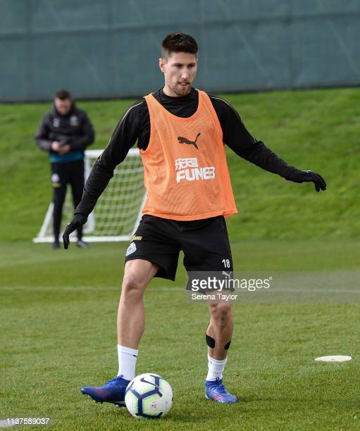 Federico Fernandez controls the ball during the Newcastle United Training Session at the Newcastle United Training Centre on March 22 2019 in...
