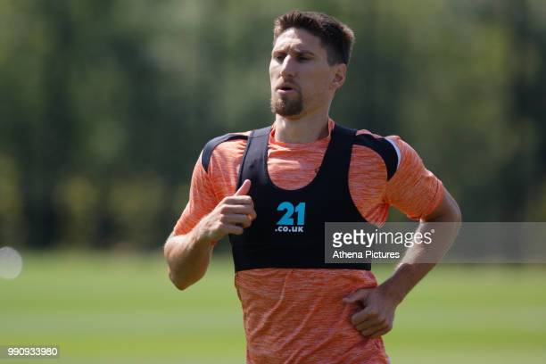 Federico Fernandez in action during the Swansea City Training Session at The Fairwood Training Ground on July 03 2018 in Swansea Wales