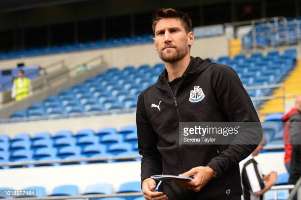 Federico Fernandez of Newcastle United arrives for the Premier League Match between Cardiff City and Newcastle United at the Cardiff City Stadium on...