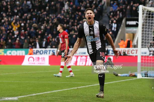 Federico Fernandez of Newcastle United celebrates after scoring his team's second goal during the Premier League match between Newcastle United and...