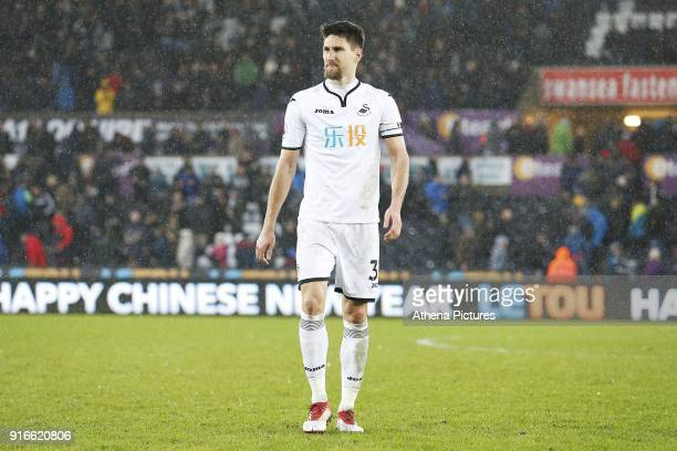 Federico Fernandez of Swansea City after the final whistle of the Premier League match between Swansea City and Burnley at the Liberty Stadium on...