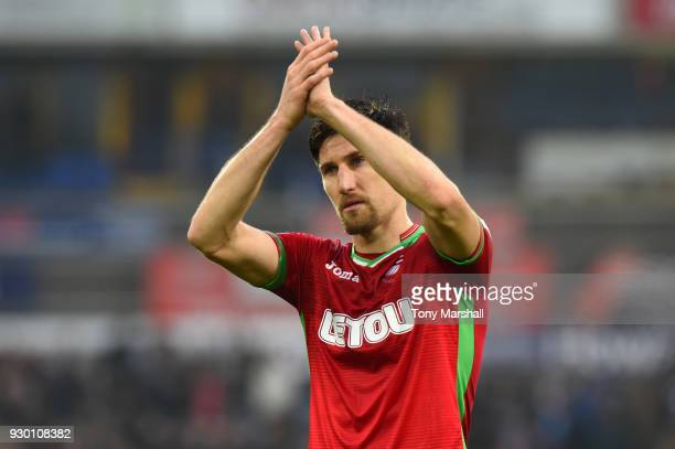 Federico Fernandez of Swansea City applauds fans after the Premier League match between Huddersfield Town and Swansea City at John Smith's Stadium on...