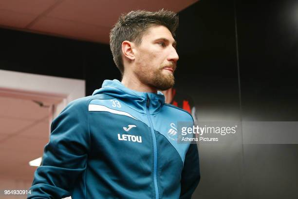 Federico Fernandez of Swansea City arrives at Vitality Stadium prior to kick off of the Premier League match between AFC Bournemouth and Swansea City...