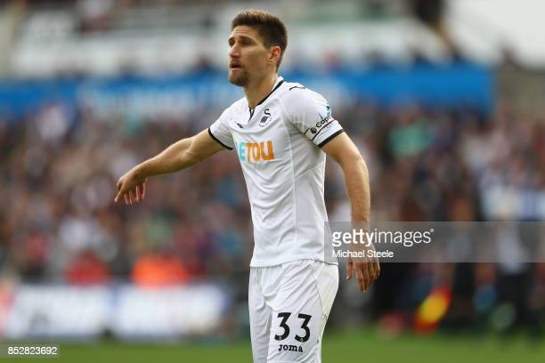 Federico Fernandez of Swansea City during the Premier League match between Swansea City and Watford at Liberty Stadium on September 23 2017 in...