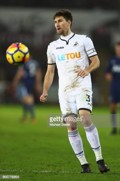 Federico Fernandez of Swansea City during the Premier League match between Swansea City and Tottenham Hotspur at Liberty Stadium on January 2 2018 in...