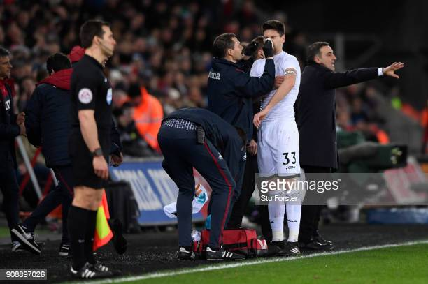 Federico Fernandez of Swansea City is attended to by a physiotherapist during the Premier League match between Swansea City and Liverpool at Liberty...