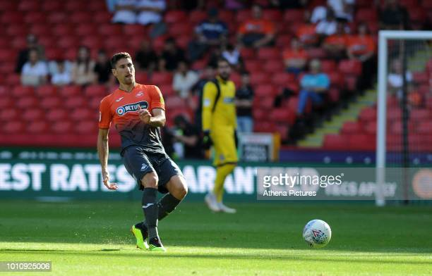Federico Fernandez of Swansea City kicks the ball during the Sky Bet Championship match between Sheffield United and Swansea City at Bramall Lane on...