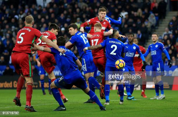 Federico Fernandez of Swansea City scores his sides first goGordon Reid of Scotland during the Premier League match between Leicester City and...