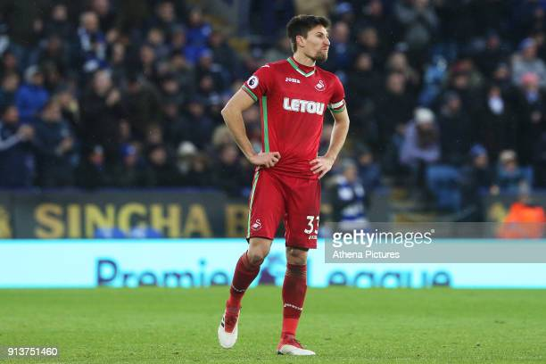 Federico Fernandez of Swansea during the Premier League match between Leicester City and Swansea City at the Liberty Stadium on February 3 2018 in...