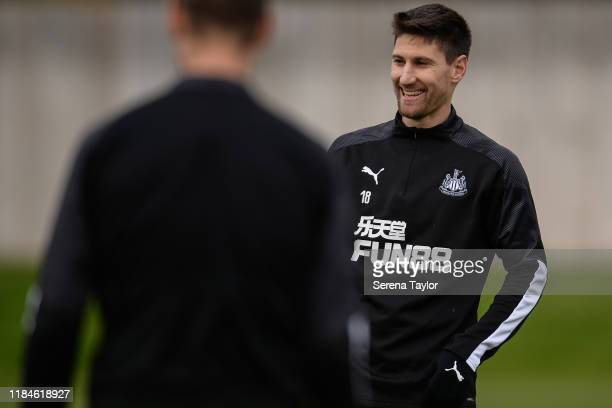 Federico Fernandez smiles during the Newcastle United Training Session at the Newcastle United Training Centre on October 31, 2019 in Newcastle upon...