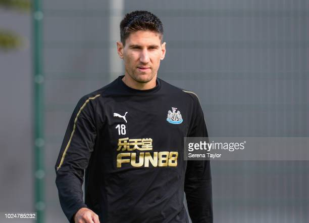 Federico Fernandez walks outside during the Newcastle United Training Session at The Newcastle United Training Centre on August 28 in Newcastle upon...