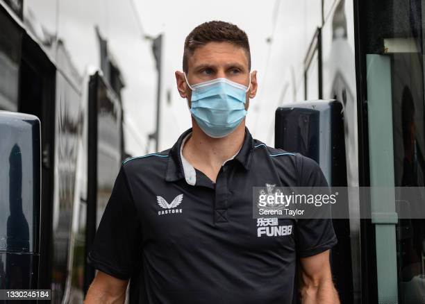 Federico Fernández of Newcastle United FC arrives for the Pre Season Friendly between Doncaster Rovers and Newcastle United at the Keepmoat Stadium...