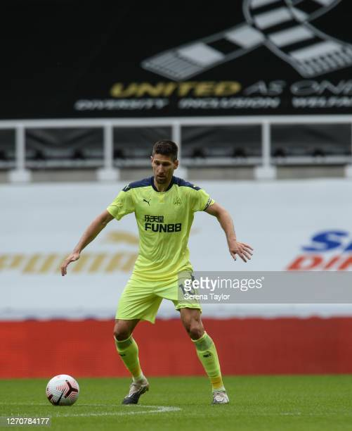 Federico Fernández of Newcastle United FC controls the ball during the Pre Season Friendly between Newcastle United and Stoke City at St James' Park...