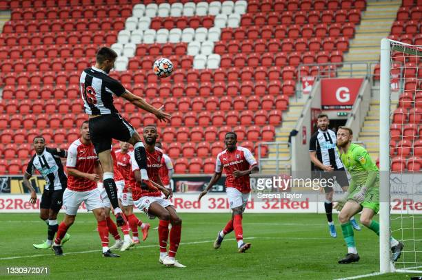 Federico Fernández of Newcastle United FC heads the ball which is saved by Rotherham United Goalkeeper Viktor Johansson during the Pre Season...