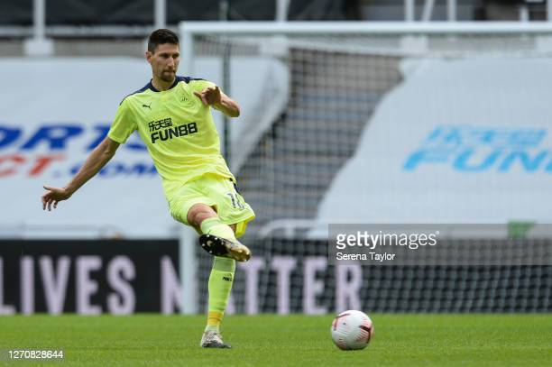 Federico Fernández of Newcastle United FC passes the ball during the Pre Season Friendly between Newcastle United and Stoke City at St James' Park on...
