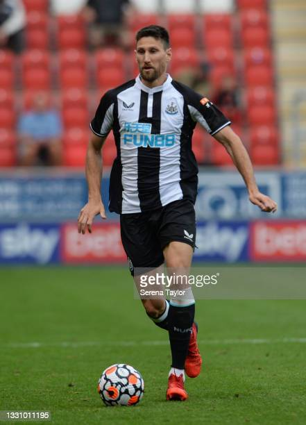 Federico Fernández of Newcastle United FC runs with the ball during the Pre Season Friendly between Rotherham United and Newcastle United at AESSEAL...