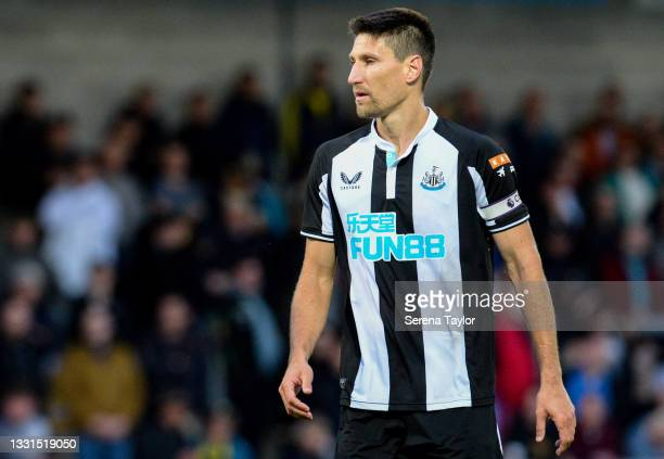 Federico Fernández of Newcastle United FC wears the captains arm band during the Pre Season Friendly between Burton Albion and Newcastle United at...