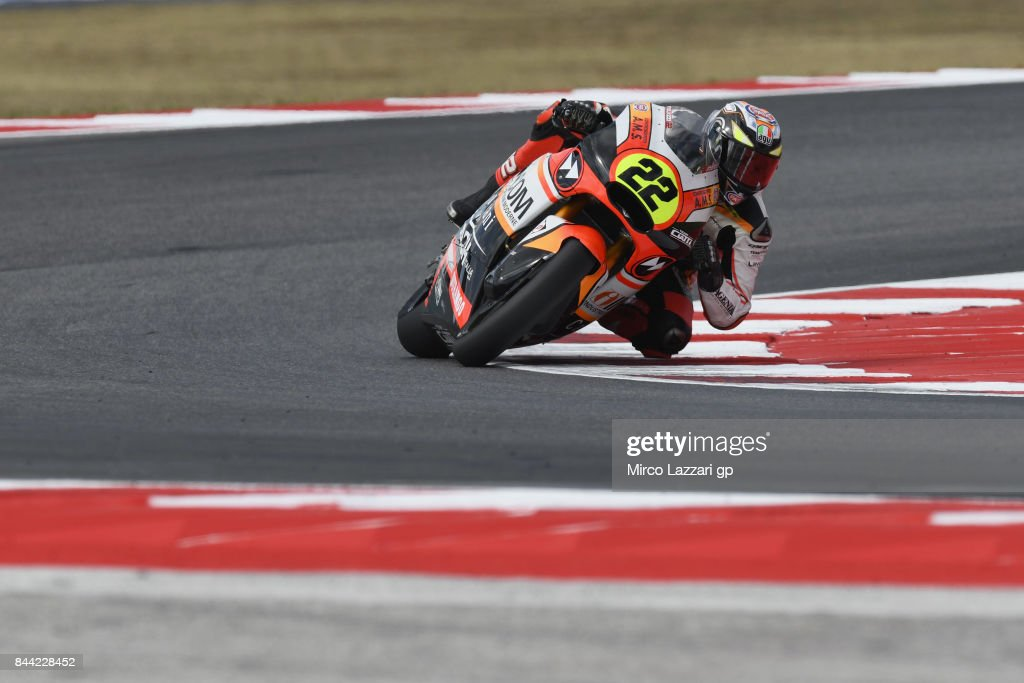 Federico Fuligni of Italy and Forward Junior Team rounds the bend during the MotoGP of San Marino - Free Practice at Misano World Circuit on September 8, 2017 in Misano Adriatico, Italy.