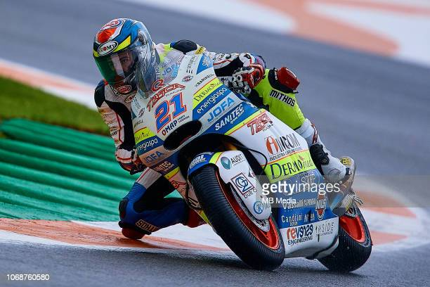 Federico Fuligni of Italy and Tasca Racing Scuderia Moto2 during the MotoGP of Valencia Free Practice at Ricardo Tormo Circuit on November 16 2018 in...