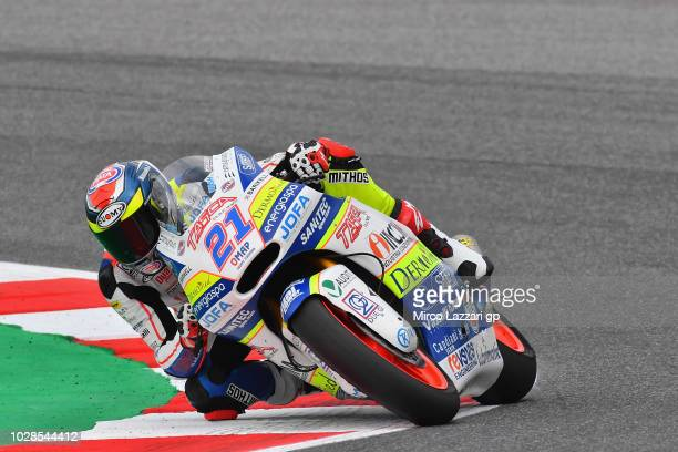 Federico Fuligni of Italy and Tasca Racing Scuderia Moto2 rounds the bend during the MotoGP of San Marino Free Practice at Misano World Circuit on...