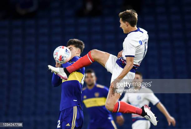 Federico Gattoni of San Lorenzo kicks the ball during a match between Boca Juniors and San Lorenzo as part of Torneo Liga Profesional 2021 at Estadio...