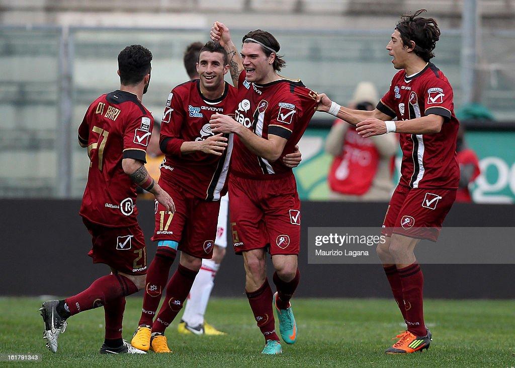 Federico Gerardi of Reggina celebrates with team-mates after scoring his team's equalising goal during the Serie B match between Reggina Calcio and Calcio Padova on February 16, 2013 in Reggio Calabria, Italy.