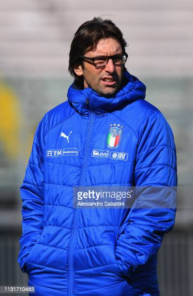 Federico Guidi head coach of Italy U19 looks on during the UEFA Elite Round match between Italy U19 and Belgium U19 at Stadio Euganeo on March 20...