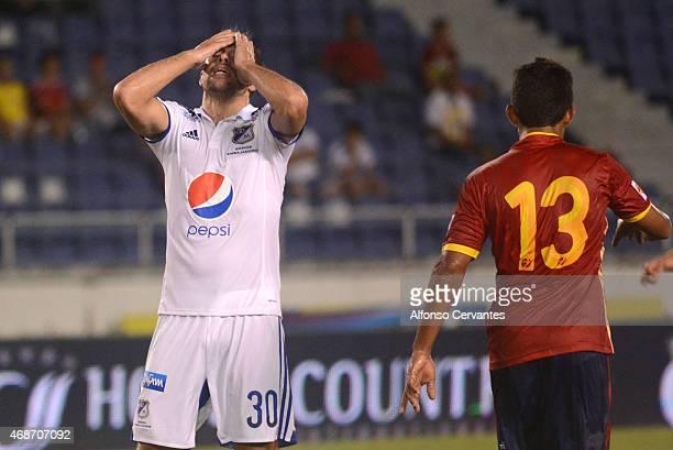 Federico Insúa of Millonarios gestures after losing a match between Uniautonoma and Millonarios as part of 13th round at Metropolitano Roberto...